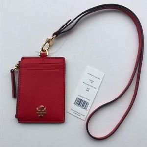 Tory Burch Emerson Lanyard ID Wallet - Red
